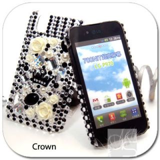 Crown Bling Hard Skin Case Cover LG Optimus Black P970 Sprint Marquee