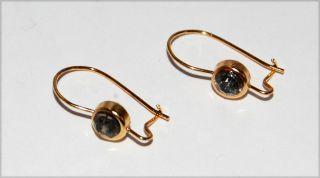 Black Diamond Rhinestone Brass Pierced Earring Wires 1 Pair