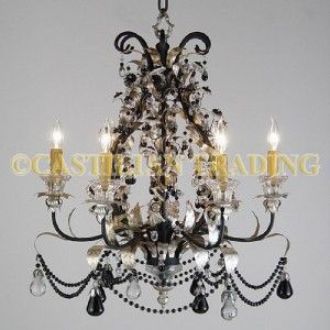 New Metal Glass Chandelier Silver Finish Black Crystal Beads w Pears