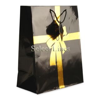 100pc Black Gold Bow Jewelry Shopping Bag Tote 9 3 4 H