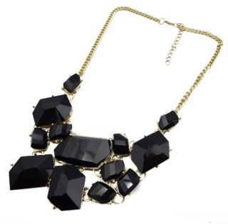 Selling Fashion Gold Plated Black Bib Necklace Jewelry A1161 4