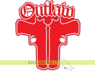 Blood Red Outlaw Guns Car Vinyl Decal Sticker Violent