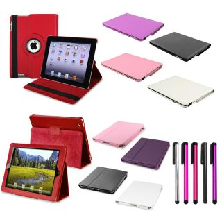 Black White Pink Red Purple 360 Swivel Stand Case for iPad 2 3G The