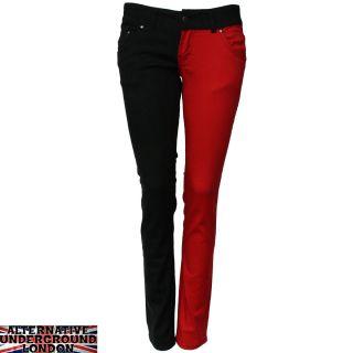 Skinny Stretch Jeans Black and Red Split Leg Pants Punk Glam Disco