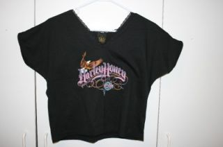 Harley Honey Woman Black Med Lace shirt 3D Emblem USA