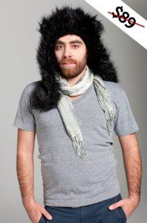Fur Animal Hats Hood Hoodies Black Wolf with Poms Ears Unisex Brand