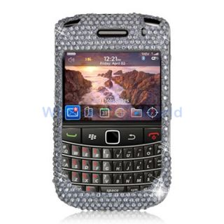 Silver Rhinestone Bling Case Cover Accessory for Blackberry Bold 9650