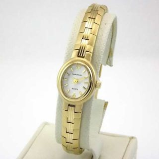 Stanley Blacker Womens Gold Tone Oval White Dial Petite Bracelet