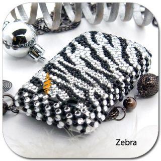Zebra Bling Rhinestone Hard Skin Case Back Cover for Blackberry 9700