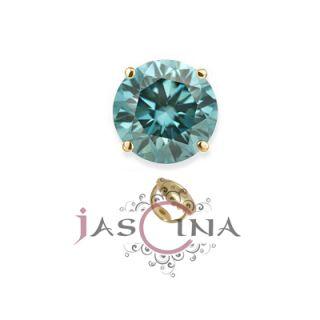 Carat Blue Diamond Single Stud Mens 14K Yellow Gold Screw Back Earring