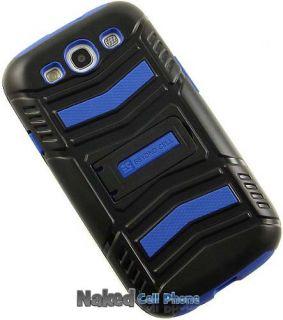 Blue Black Tri Shield Hard Case Screen Saver Stand for Samsung Galaxy