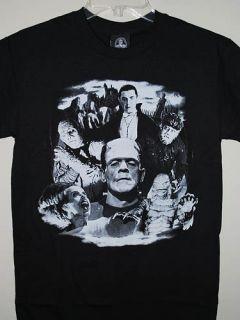 Universal Monsters Dracula Bride of Frankenstein Mens Black T Shirt S