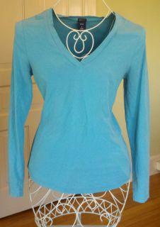 AQUA BLUE GAP STRETCH V Neck Long Sleeve T Shirt Shirt Top Size Small