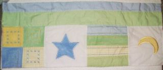 Monterey Moon Star Green Blue Plaid Gingham Curtain Valance Nursery