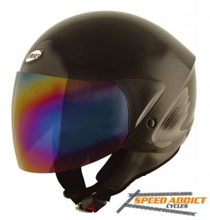Suomy Jet Light Metallic Black Scooter Motorcycle Open Face Helmet x