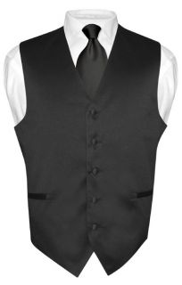 Mens BLACK Tie Dress Vest and NeckTie Set for Suit or Tuxedo