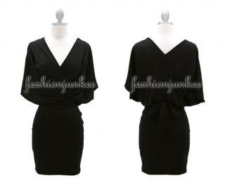 Black V Tie Mini Dress V Neck Wrap Around Tie Kimono Sleeves Jersey