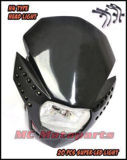 Head Light Motorcycle Black Dirt Bike KTM Honda MX Lamp