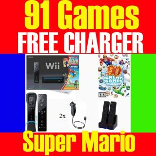 Nintendo Black Wii Console System Two Players 107 Games 013964338034