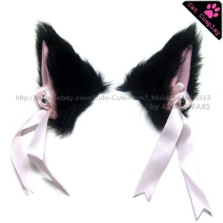 Black Cat Ear Cute Hair Clip Lolita Japanese Anime Neko Cosplay Fancy