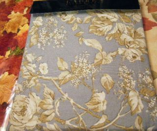 LAUREN BEAUTIFUL FLORAL PAISLEY SHOWER CURTAIN BLUE BROWN IVORY NEW
