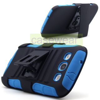 Black Blue Rhino Kickstand Hard Case Cover Holster for Samsung Galaxy
