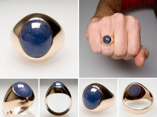 Vintage Gypsy Set Natural Blue Star Sapphire Mens Ring Solid 14K Gold