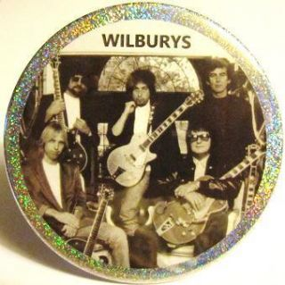 Wilburys JUMBO GLITTER PIN BUTTON Bob Dylan Tom Petty George Harrison