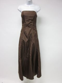 SAISON BLANCHE Brown Satin Strapless Gathered Waist Full Length Dress