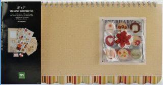 Blank WALL Seasonal CALENDAR PAGES KIT w/Embellishments 15x7