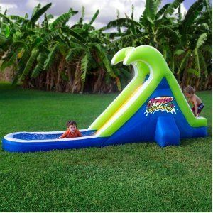 Blast Zone Backyard Kids Toy Inflatable Compact Water Slide Pool