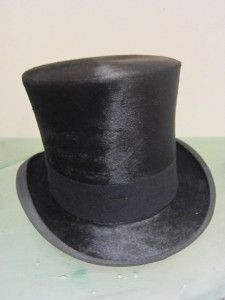 Knox Antique Mens Top Hat Silky Beaver Long & Hatbox Size 7 Elegant
