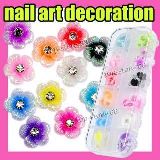 60 Acrylic Flower Rhinestones Nail Art Decoration S207