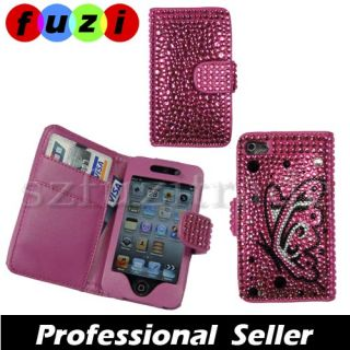 Butterfly Diamond Bling Rhinestone Wallet Case Cover for Apple iPod