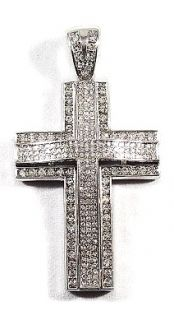 Iced Out 14k w Gold Cross Hip Hop Bling Charm Pendant