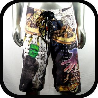 Minute Mirth Shorts Swim Board Tattoo Surf K4 Sz 32 Trunks Graffiti