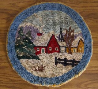 Vintage HOOKED RUG CHAIR PAD Country SNOW Christmas WINTER Round