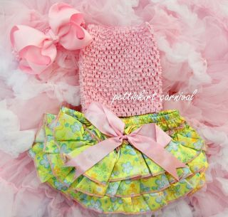 Baby Lime Green Butterfly Bloomers Light Pink Tube Top Bow Headband