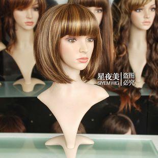 017 New Fashion Short Mixed Light Brown Blonde Bob Wig