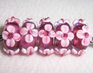 Blossom Flower Lampwork Glass Beads Fit European Charm Bracelet 1259