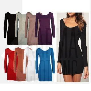 Womens Long Sleeve Bodycon Dress Ladies Long Top Tunic