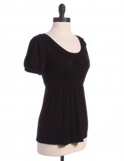 BCBG Max Azria Black Shirred Puff Sleeve Blouse Sz XS Top Shirt