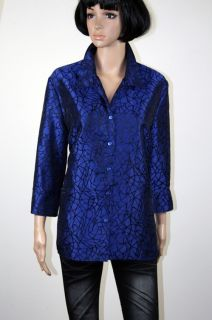 SIZE 14 STITCHES BLUE SATIN LONG SLEEVE BLOUSE SHIRT TOP L472