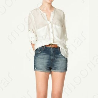 Button Down T Shirts Half Sleeve Tops Blouses Fitted 3Colors