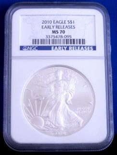 70 NGC Certified Early Release American Silver Eagle Blue Label