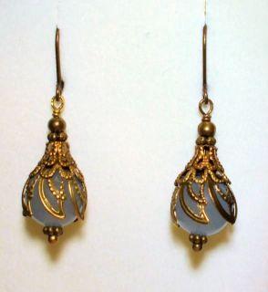 Nouveau Victorian Style Light Blue Chalcedony Quartz Earrings