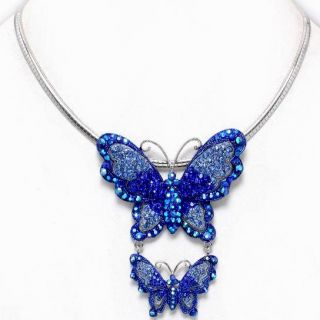 Chunky/Dangled ~ Shades of Blue Crystal Double Butterfly Pendant
