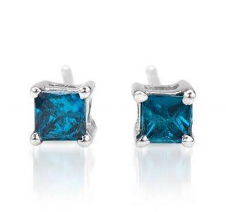 Princess Cut Blue Diamond Earrings