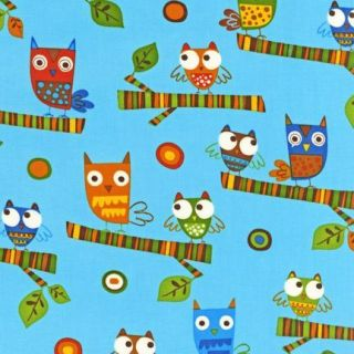 Blue Owl Bird on A Whim 2 Earth Child Boy Quilt Fabric