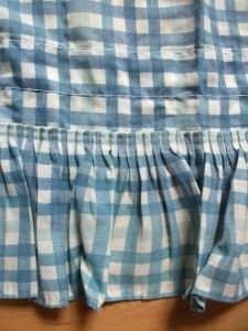 Set of 2 Country Blue Checked Gingham Ruffled Balloon Valances 172x19